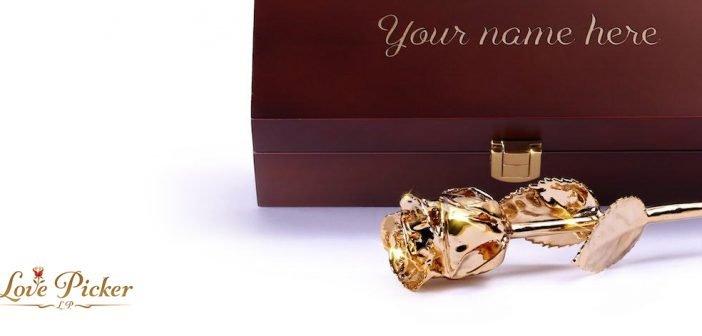 Натуральная роза, покрытая золотом от Love Picker