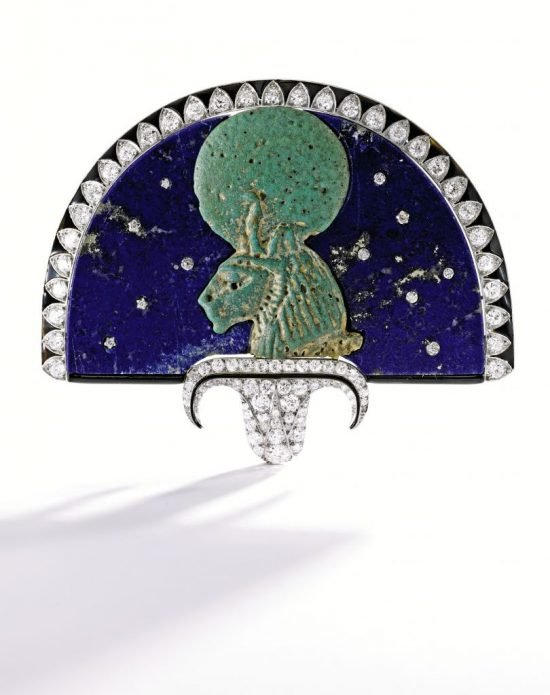 9054 Lot 410 Rare Egyptian-Revival Faience and Jeweled     Brooch, Cartier