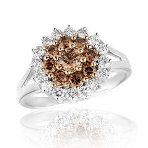 Кольцо с бриллиантами щампань