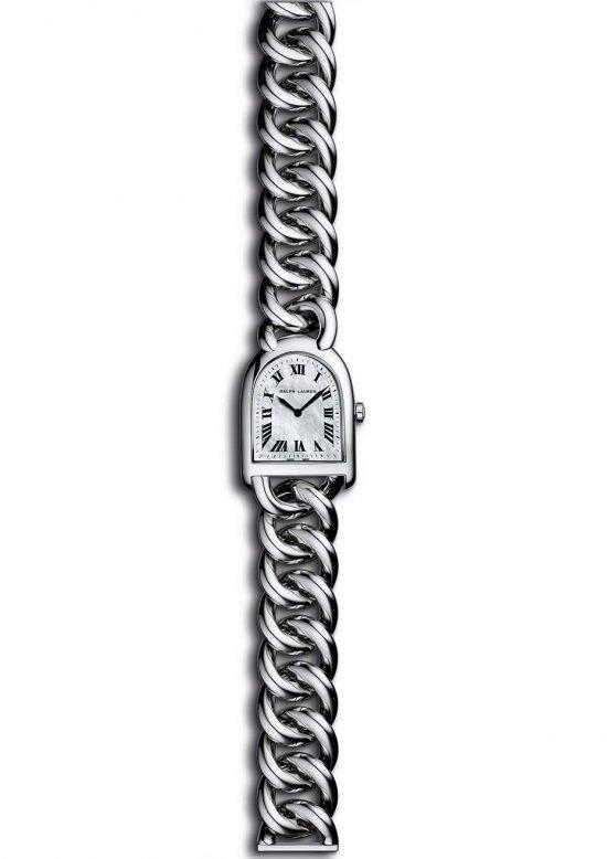 """Браслет-часы """"Petite Stirrup"""" от Ральфа Лорена представляют собой композицию из стального ремешка и перламутрового циферблата."""
