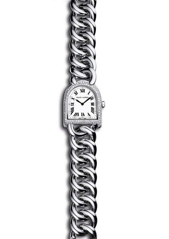 """Браслет-часы """"Petite Stirrup"""" от Ральфа Лорена из стали, с перламутровым циферблатом и крошечными бриллиантам вокруг."""