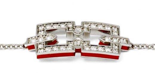 Коллекция Raphaele Canot Skinny Deco, браслет из белого золота, инкрустированный белым «бриллиантовым паве» и украшенный красной коралловой эмалью (£1,800)