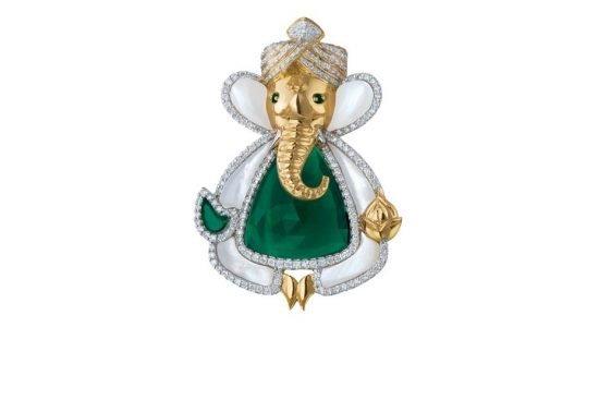 Коллекция MINAWALA Festival of Emeralds, подвеска из белого и желтого золота с бриллиантами, перламутром, изумрудом и зеленым кварцем