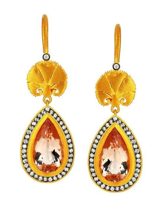 Серьги «Wish» («Желание») из желтого золота с бриллиантами и морганитом из Османской дизайнерской коллекции