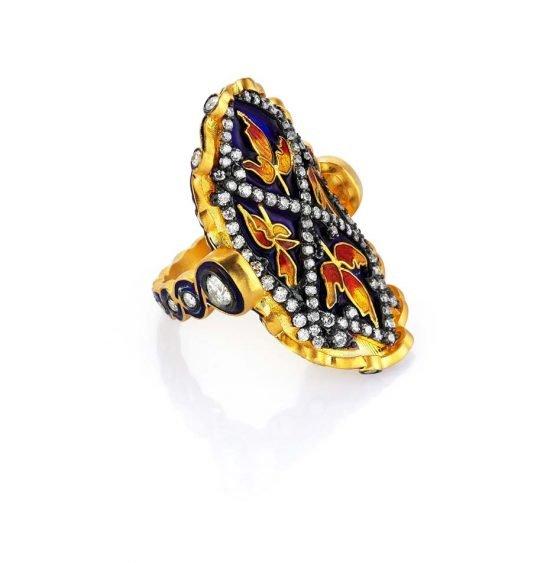 Кольцо «Gezi» из золота с бриллиантами и цветочной эмалью