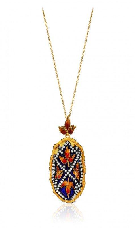 Колье «Gezi» с бриллиантами и цветочной эмалью