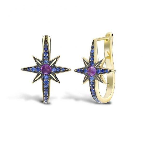 Серьги Venyx Star из желтого золота с сапфирами и аметистами, из новой коллекции Theiya