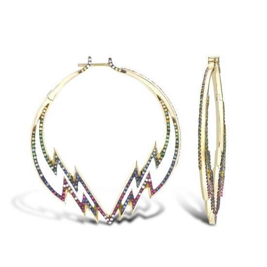 Серьги Venyx Electra Hoop с цветными драгоценными камнями, из новой коллекции Theiya
