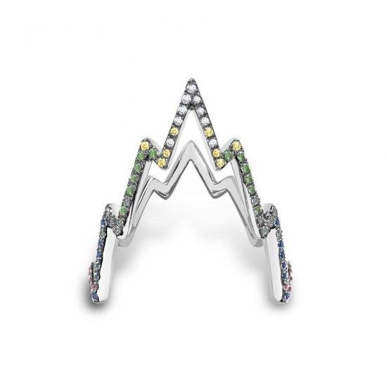 Кольцо Miss Zeus от Venyx из белого золота с цветными бриллиантами