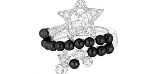 Тема «Бриллиантовая Ночь»: кольцо из белого золота с бриллиантами и с бисером из черной шпинели