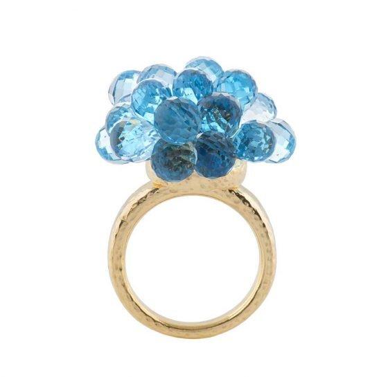 Золотое кольцо от Biiju Explosion Swiss с голубым топазом