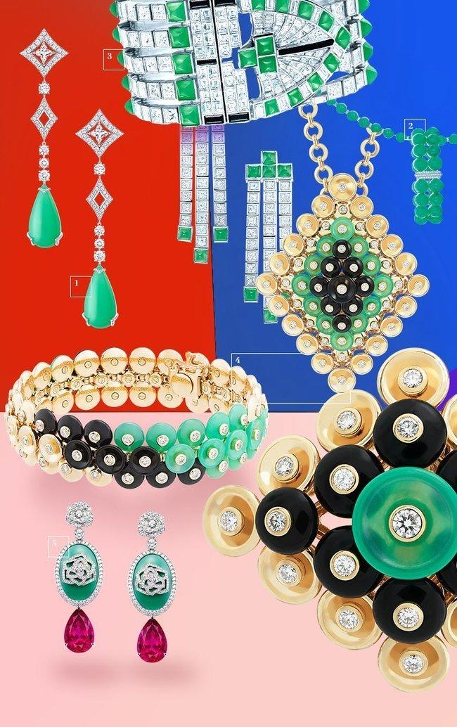 1.Серьги Acte V Metamorphosis, Louis Vuitton. Золото, бриллианты, хризопразы 2. Сотуар и браслет, Tiffany & Co. Платина, бриллианты, хризопразы 3. Серьги и браслет, Tiffany & Co. Платина, бриллианты, черная шпинель, хризопразы 4. Кольцо, браслет, подвеска Bouton d'Or, Van Cleef & Arpels. Золото, оникс, бриллианты, хризопразы 5. Серьги Piaget Rose Passion, Piaget. Золото, бриллианты, рубеллиты, хризопразы